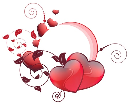 Red hearts and floral elements on a white background   Valentine Stock Vector - 16118973