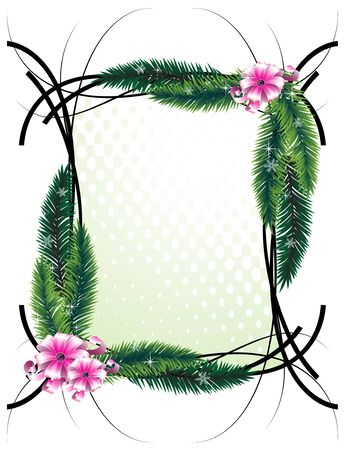 evergreen wreaths: Bright ribbons and fir branches on a white background