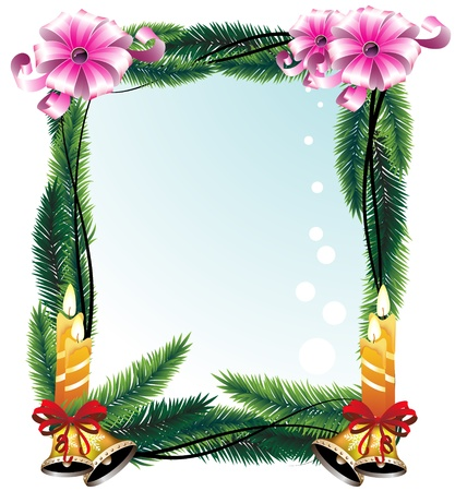 Festive wreath with bright decorations. Greeting Card. Vector