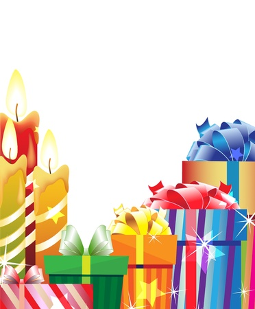 Gift boxes and burning candles on a white background Vector