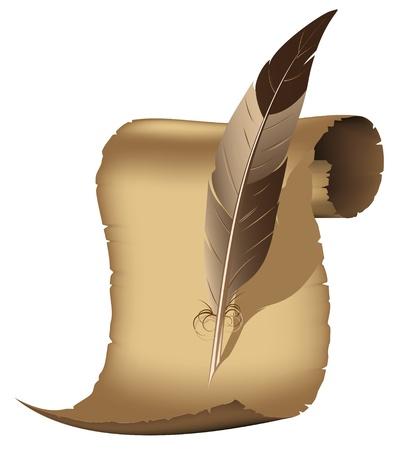 古代羊皮紙と白い背景の上の執筆羽