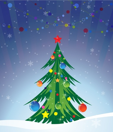 Richly decorated Christmas tree on a snowy background Stock Vector - 16118992