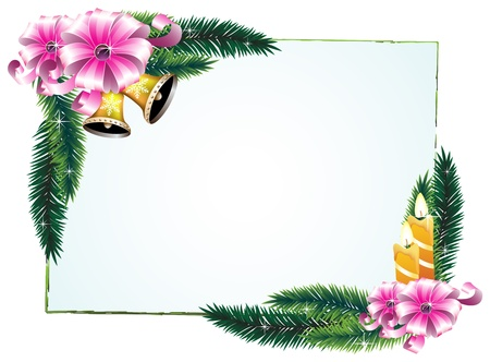 Bouquets of pine branches, candles and ribbons. Festive frame. Vector