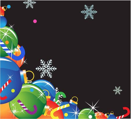 Pile of Christmas balls and candy on a black background Stock Vector - 16118965