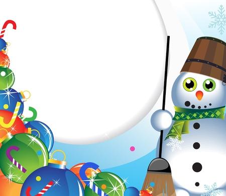 Bonhomme de neige gai dans une écharpe verte et un tas de décorations pour arbres de Noël Vecteurs