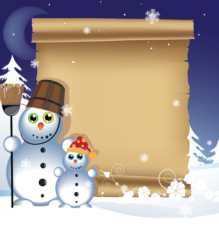 Two cheerful snowmen and ancient manuscript on snowy background Vector