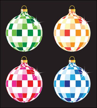 Four sparkling original Christmas ball isolated on black Stock Vector - 16118972