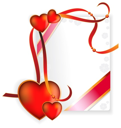 Heart and ribbon on a white background with place for text