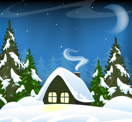 Small house in a snowy forest. Winter Landscape. Vector