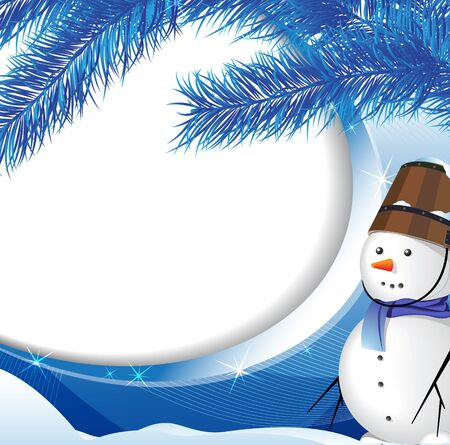 Snowman on the background of snow-covered fir Vector