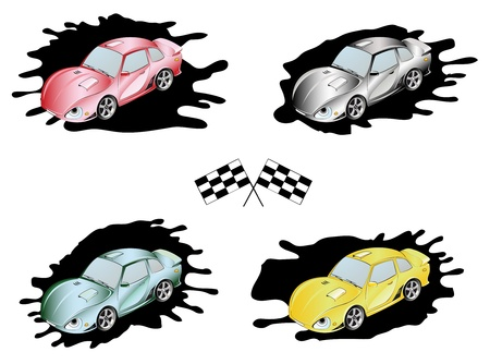 Four sporting cars of different colors. Vector