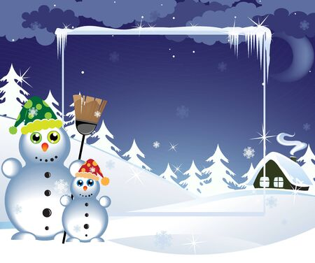Two snowmen in the bright hats near a lonely hut Vector