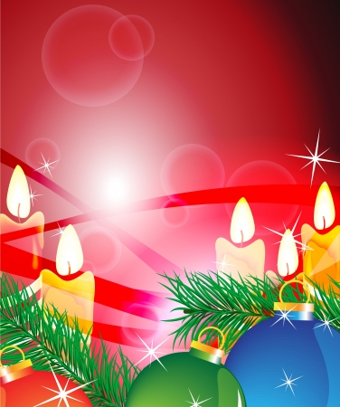 Candles and Christmas-tree decorations on a sparkling red background Stock Vector - 16118993