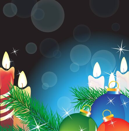 Burning candles and Christmas decorations on a magic blue background Stock Vector - 16420470