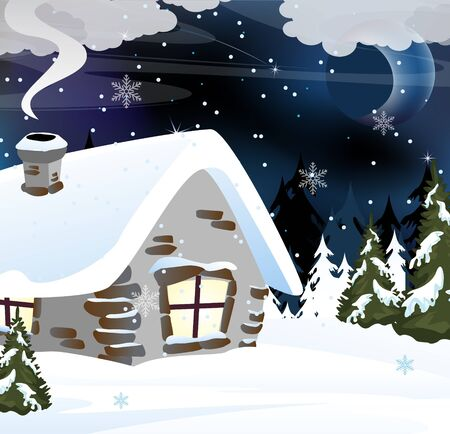 Small snowbound cabin in the winter forest  Night rural landscape Vector