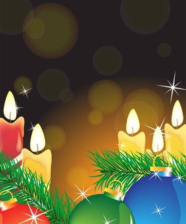 Burning candles and Christmas decorations on a sparkling background  Vector