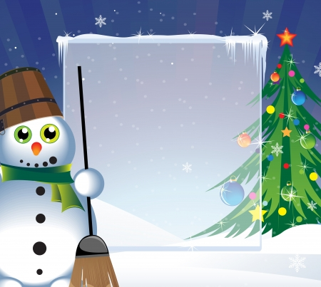 Snowman and a Christmas tree on a snowy background Illustration