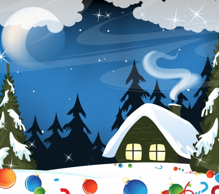 Small snow covered hut and lost Christmas decorations Vector