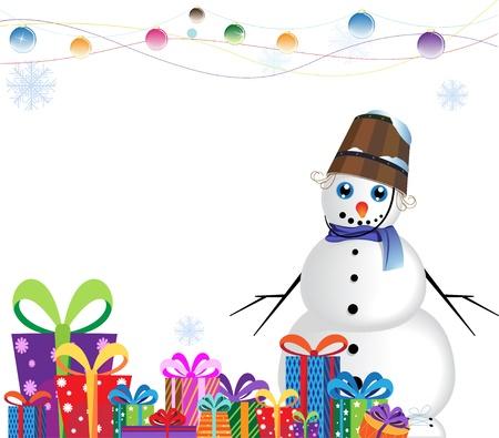 boule de neige: bonhomme de neige avec un seau sur la t�te pr�s d'un tas de cadeaux sur un fond blanc