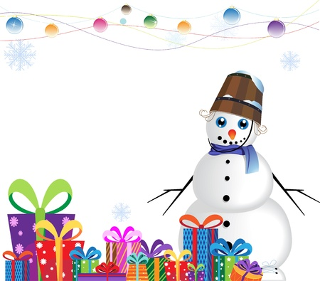 snowman with a bucket on a head near a heap of gifts on a white background Illustration