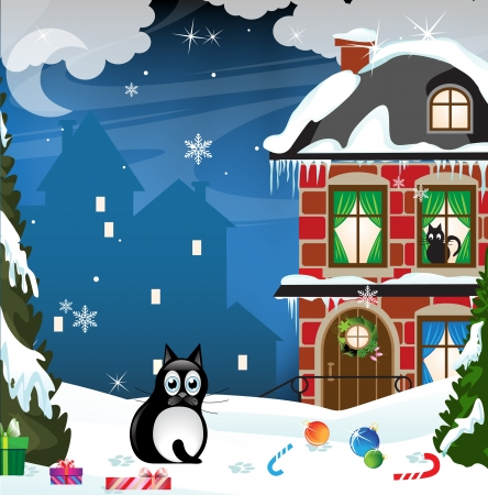 Fat black cat sitting in the snow in the middle of Christmas gifts Иллюстрация