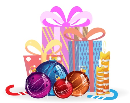 Christmas decorations, gifts, candy cane and candles on a white background Vector