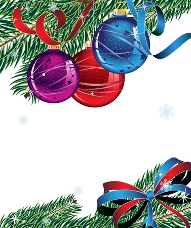 Christmas balls, spruce branches and bright bow  New Year Stock Vector - 16420440