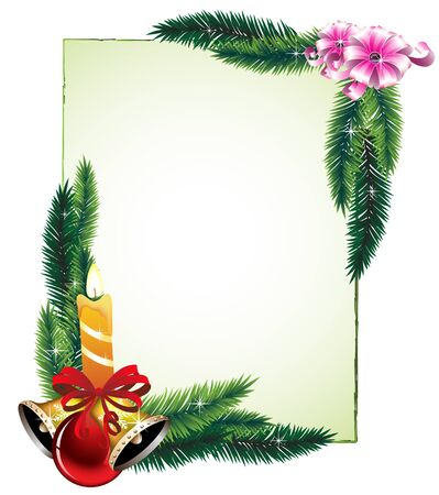 Bouquets of pine branches, candles and decorations  Festive frame  Vector