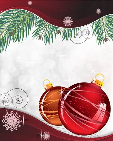 Red and orange Christmas balls on a silver shiny background Stock Vector - 16420376