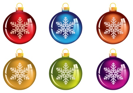 blue bulb: Bright Christmas decorations with snowflake. Isolated on white Illustration