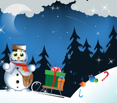 Amusing snowman-postman carries gifts on a sledge Vector