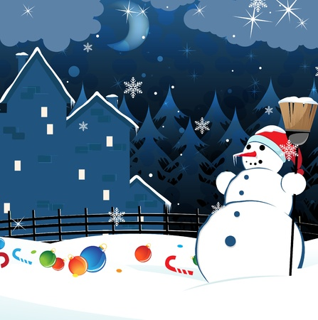 brick mansion in a pine forest and snowman with a broom. Cartoon Christmas landscape Vector