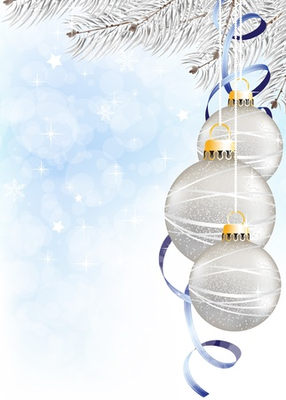 Spruce branches and silver Christmas decorations  on a blue sparkling background