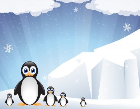 pinguino caricatura: Pingüinos divertidos cerca del iceberg espumoso Vectores