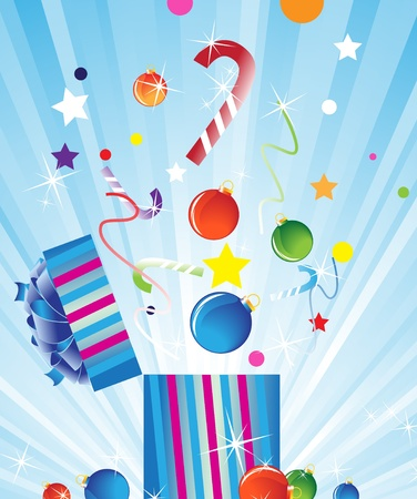 party poppers: Bright Christmas decorations flying out of gift box