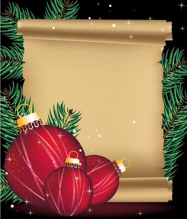 Red Christmas balls, fir branches, and the ancient scroll Stock Vector - 16420451