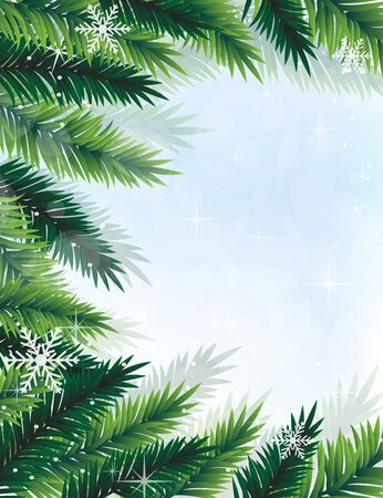 Fir tree branches on a blue sparkling background. Abstract Christmas frame Stock Vector - 16420374