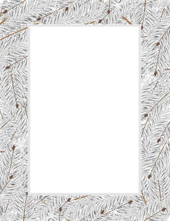 Snow covered fir tree branches on a white background.  Abstract Christmas frame Stock Vector - 16420473