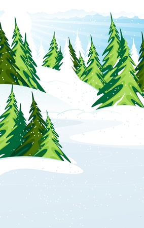 Snow Covered Pine Trees. Winter forest landscape Stock Vector - 16420348
