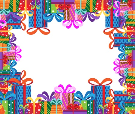 colored paper: Pile of gifts in colorful packaging. Festive frame