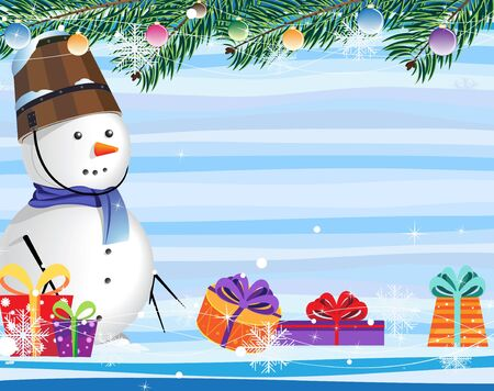 snowman and Christmas gifts on a abstract striped background Stock Vector - 16480498