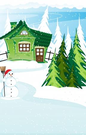 coberto de neve: Casa fada verde e boneco de neve com vassoura em uma floresta de pinheiros cobertos de neve. Paisagem do inverno Ilustra��o
