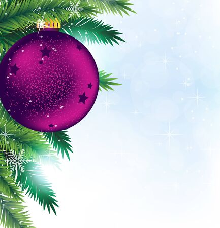 Purple Christmas bauble and spruce branches  Sparkling Christmas background Vector