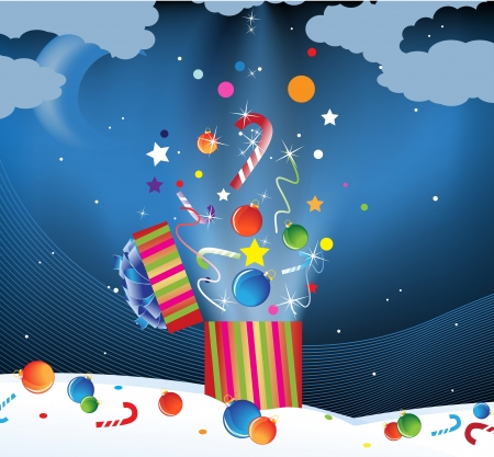 Christmas decorations and candy flying out of gift boxes in the night sky Vector