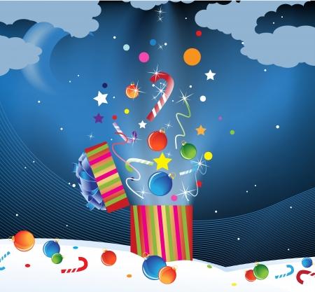 opening party: Decoraciones de Navidad y dulces de volar de cajas de regalo en el cielo nocturno