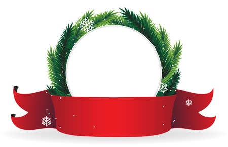 Christmas wreath with red ribbon on white background Stock Vector - 16480482
