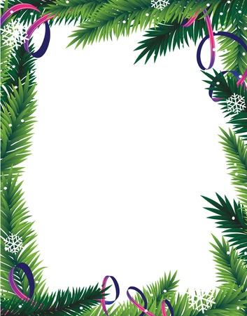 モミの木の枝と白い背景の抽象的なクリスマス フレームに見掛け倒し