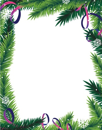 Fir tree branches and tinsel on a white background  Abstract Christmas frame