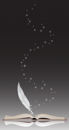Open book and feather on a black background Vector