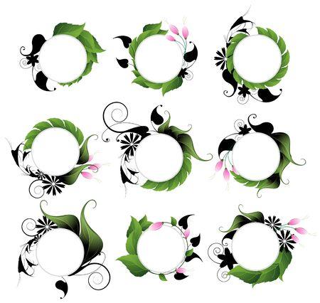 Icono de Medio Ambiente creó con hojas y flores abstractas